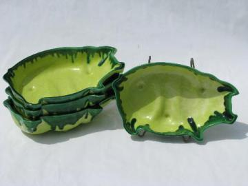 lime green drip vintage California pottery pig shape bowls, relish dishes