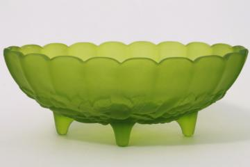 lime green mist satin glass oval bowl, Indiana garland harvest fruit pattern glass