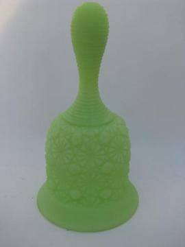 lime green satin glass, vintage Fenton daisy & button bell