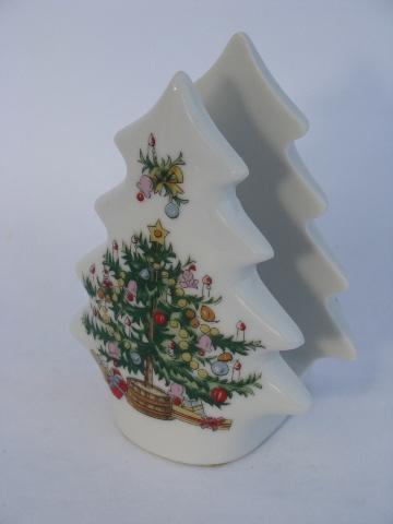 little christmas tree napkin holder vintage hand painted