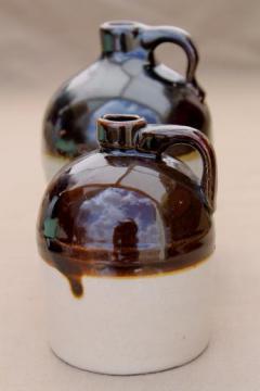 little brown (and white) jugs, primitive vintage stoneware jug crock bottles