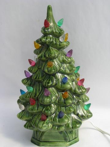 little ceramic table-top Christmas tree, retro vintage light-up tree