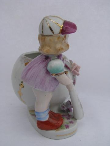 little girl baseball player, old hand-painted china planter, vintage Japan