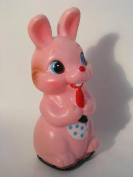 little girl bunny w/ dotted apron, vintage Easter wind up plastic toy