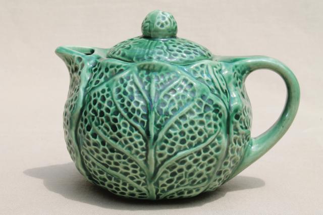 little green cabbage leaf teapot vintage majolica pottery tea pot bordallo pinheiro style & little green cabbage leaf teapot vintage majolica pottery tea pot ...