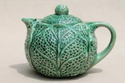 little green cabbage leaf teapot, vintage majolica pottery tea pot, bordallo pinheiro style