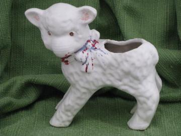little lamb planter for baby or Easter, vintage USA pottery - McCoy?