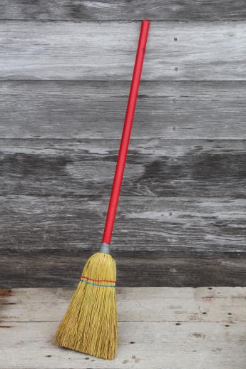 Little Old Corn Broom W Red Wood Handle Working Toy For