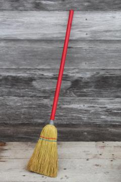 little old corn broom w/ red wood handle, working toy for clean up or play in child's size kitchen