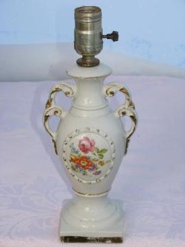 little vintage roses floral china lamp