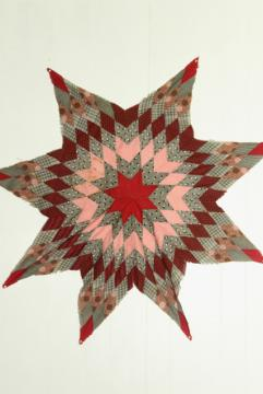 lone star patchwork quilt starburst pieced diamonds primitive red pink vintage cotton fabric