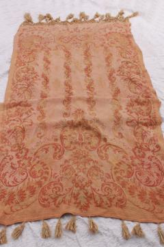 long antique brocade woven cotton runner, drape or lounge cover w/ tassels, bohemian hammock!