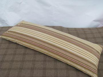 long bolster body pillow, antique feather pillow, vintage wide stripe cotton ticking
