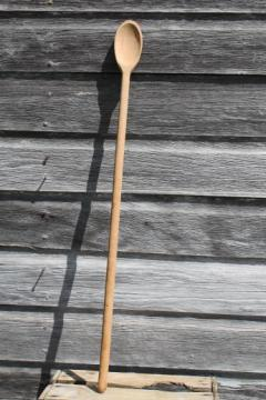 long handled wooden spoon for a huge kettle or soap making pot, primitive vintage wood spoon