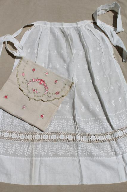 long white cotton apron w/ drawn thread lace, old wedding apron or folk costume w/ embroidered bag