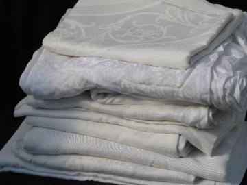 lot 10 vintage antique cotton and linen damask fabric tablecloths