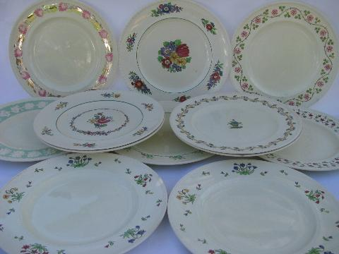 lot 12 antique English china dinner plates early 1900s Wedgwood patterns : wedgwood china dinnerware - pezcame.com