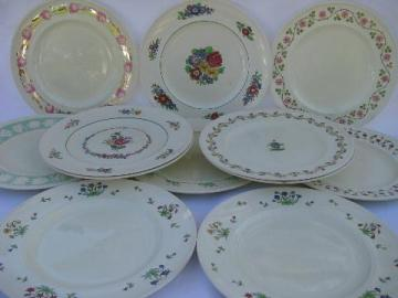 lot 12 antique English china dinner plates, early 1900s Wedgwood patterns