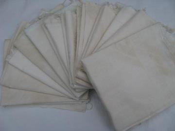 lot 12 primitive old feed sack bags, vintage plain cotton fabric flour sacks