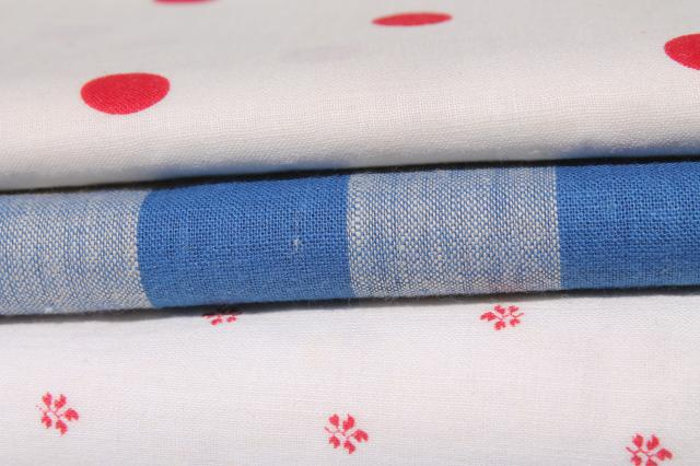 lot 1940s vintage cotton print & gingham checked fabric, patriotic red, white, blue