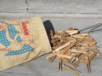 lot 1960s vintage wood clothes pins & laundry line clothespin bag