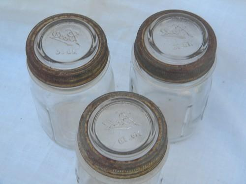 lot 3 Ball pint mason storage jars, hoosier vintage kitchen canisters