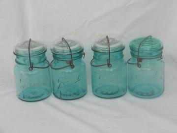 lot 4 vintage aqua blue Ball Ideal mason jars/canisters, lightning lids