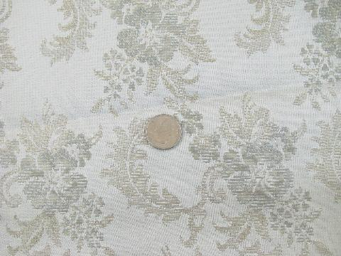 lot 50s-60s vintage drapery fabric samples, silky brocade chantilly white