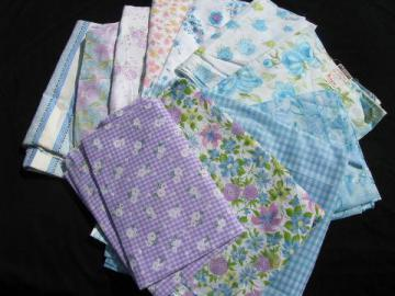 lot 60s vintage flowered print fabric, cotton & cotton blends