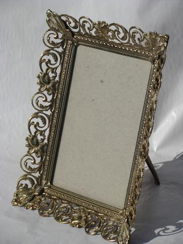lot 60s vintage ornate metal picturephotomirror frames easel stands - Metal Photo Frames