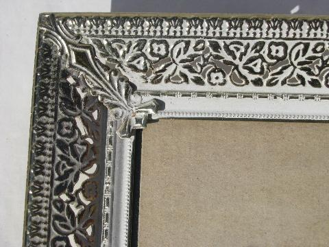 lot 60s vintage ornate metal picture/photo/mirror frames, easel stands
