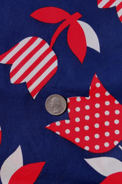 Lot 70s Vintage Red White Amp Navy Blue Fabric Prints