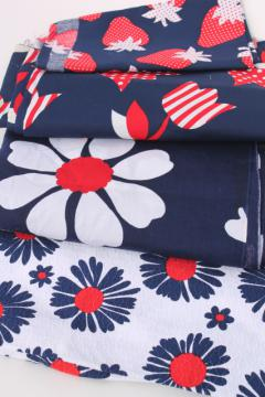 lot 70s vintage red white & navy blue fabric prints, strawberries, flower power daisies!