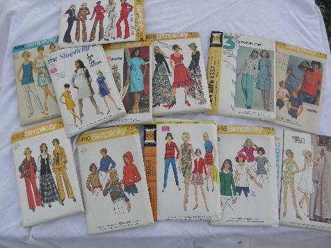 Lot 70s Vintage Sewing Patterns Retro Boho Hippie Pants Dresses