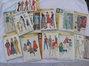 lot 70s vintage sewing patterns, retro, boho, hippie pants, dresses, tops 34 to 38 bust