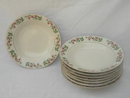 lot 8 Gibson Christmas Charm soup/pasta bowls christmas holly berry china & lot 8 Gibson Christmas Charm soup/pasta bowls christmas holly berry ...