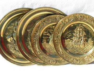 lot English solid brass chargers, large plates or trays w/ tall ships