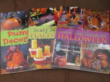 lot Halloween craft books, party recipes, jack-o-lantern pumpkin carving