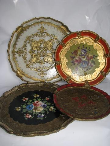 lot Italian florentine antique gilt wood trays u0026 charger plates vintage Italy & lot Italian florentine antique gilt wood trays u0026 charger plates ...