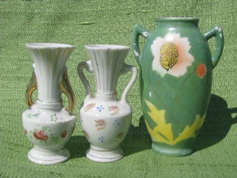 lot Occupied Japan vintage vases, art deco flower on jadite green etc.