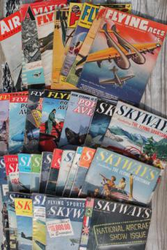 lot WWII vintage flying magazines, Popular Aviation, Skyways, Flying Aces flyer pilots