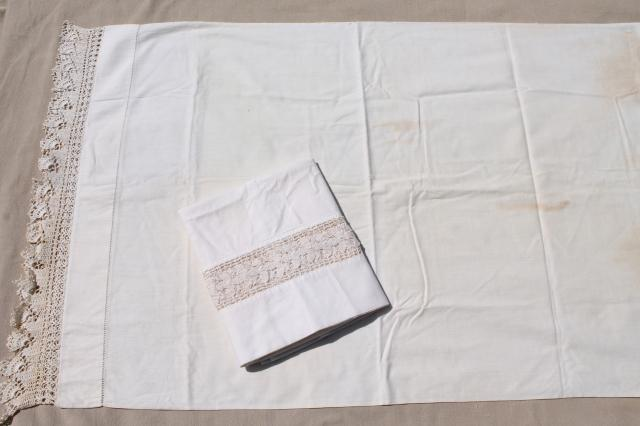 lot all white cotton sheets & pillowcases, vintage bed linens, some trimmed w/ crochet