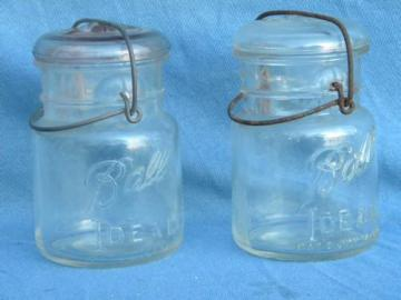 lot antique 1 pint size Ball jars glass and wire lightning lids 1908 pat