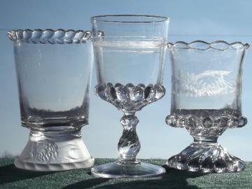 lot antique EAPG glass spooners or celery vases, pressed lion glass etc.
