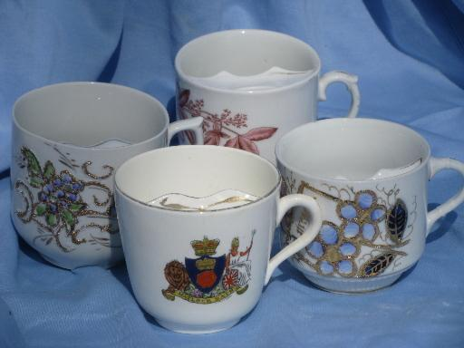 lot antique china mustache cups, Germany, Prussia, seal of Metlock-Bath