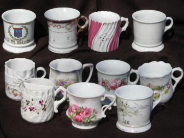 lot antique china shaving mugs, occupational, Germany, unmarked Prussia
