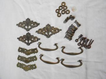 lot antique french rococo brass hardware drawer pulls restoration parts
