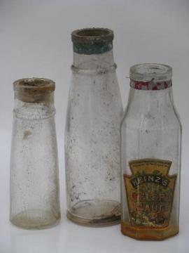 lot antique glass food jars and condiment bottles, old Heinz ketchup label