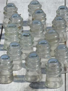 lot antique glass telegraph electrical insulators, steampunk vintage