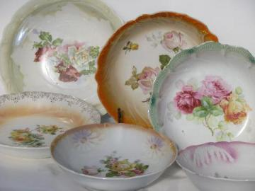 lot antique luster and roses china bowls, early 1900s vintage Germany